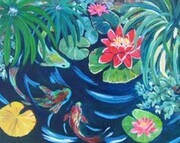 """Lily Pond with Fish, Antigua, Guatamala"""