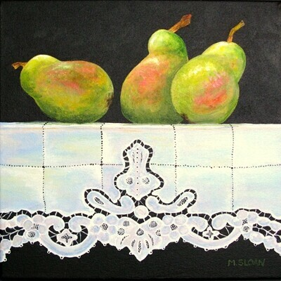 "Marion Sloan ""Three Pears on Grandma's Tablecloth""  Sold"
